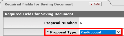 Proposal Type dropdown menu indicated on the Required Fields for Saving Document section