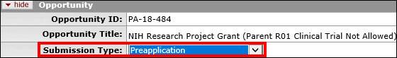Submission Type dropdown menu indicated on the Opportunity panel