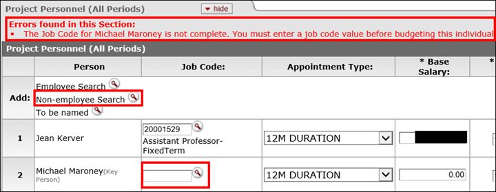 Non-employee error message on Project Personnel panel: The job code for user x is not complete. You must enter a job code value before budgeting this individual.