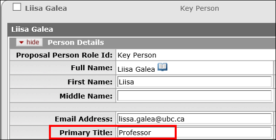 Person Details panel with the Primary Title field highlighted