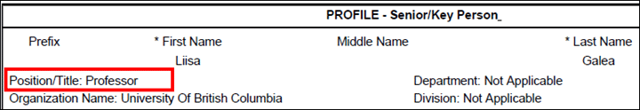 Profile - Senior/Key Person with the Position/Title field highlighted