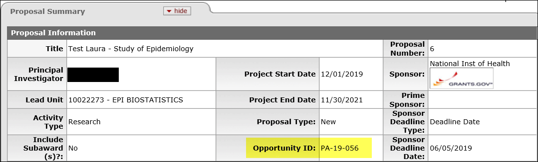 Proposal Summary Tab example in KC