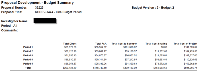 Example of Budget Report showing new summary totals at bottom of the report