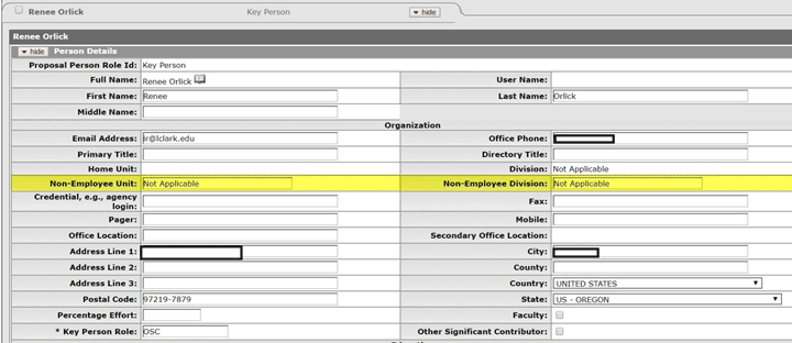 New Non-Employee fields highlighted on Person Details form