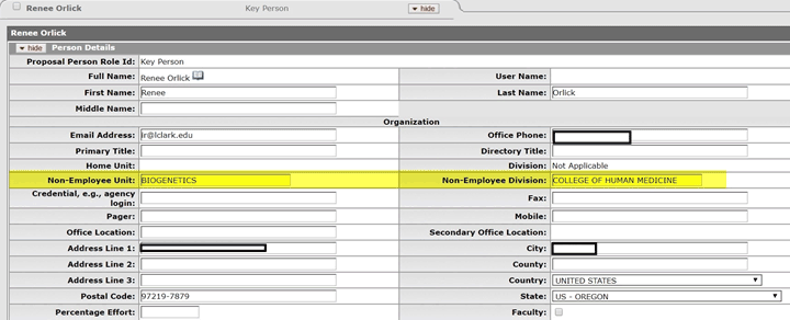 Example Biogenetics unit and College of Human Medicine division information entered into new non-employee fields on Person Details form