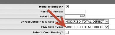 Updated F and A Rate Type drop down field on the Parameters tab