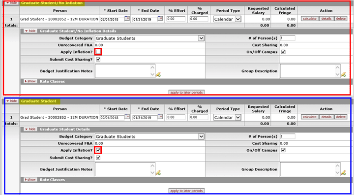 Example of graduate student added to Details subpanel with and without a group