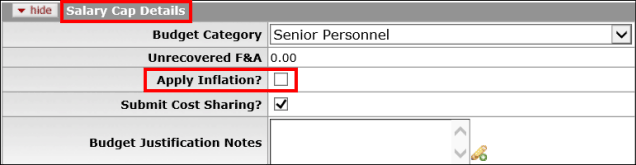 Apply Inflation checkbox highlighted on the Salary Cap Details panel