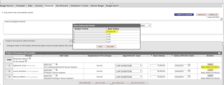 Example of new Base Salary by Period popup box showing a base salary for period one