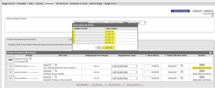 Example of base salary for each period calculated by clicking the Calculated button on the Base Salary by Period popup box