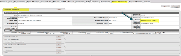 Prime Sponsor field highlighted on the Proposal Summary tab