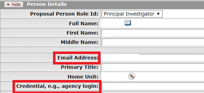 Email address and credential fields highlighted on the Person Details panel